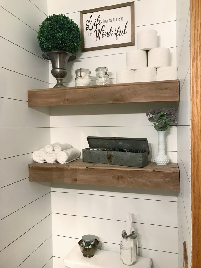 Fixer Upper style Farmhouse bathroom reno with faux shiplap