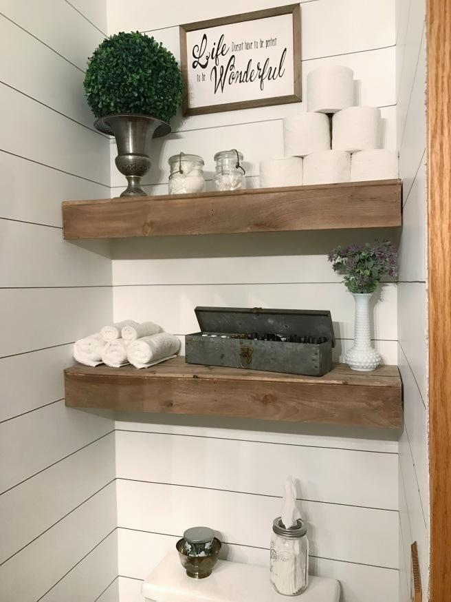 Fixer Upper style Farmhouse bathroom reno with faux shiplap